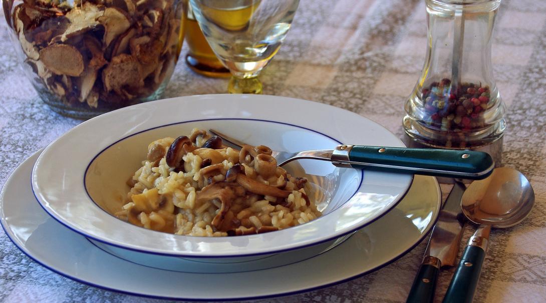 Un bol de risotto aux champignons pour un repas végan sain